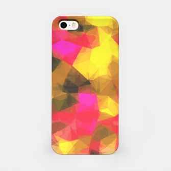 psychedelic geometric polygon shape pattern abstract in pink yellow green iPhone Case Bild der Miniatur