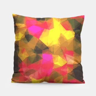 psychedelic geometric polygon shape pattern abstract in pink yellow green Pillow Bild der Miniatur