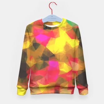 psychedelic geometric polygon shape pattern abstract in pink yellow green Kid's Sweater Bild der Miniatur