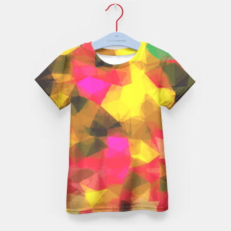 psychedelic geometric polygon shape pattern abstract in pink yellow green Kid's T-shirt Bild der Miniatur