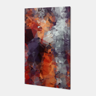 psychedelic geometric polygon shape pattern abstract in orange brown red black Canvas Bild der Miniatur