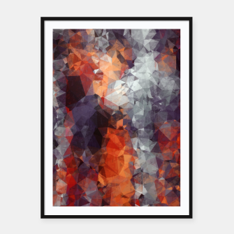 psychedelic geometric polygon shape pattern abstract in orange brown red black Framed poster Bild der Miniatur