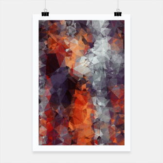psychedelic geometric polygon shape pattern abstract in orange brown red black Poster Bild der Miniatur