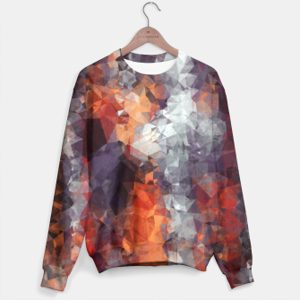 psychedelic geometric polygon shape pattern abstract in orange brown red black Sweater Bild der Miniatur