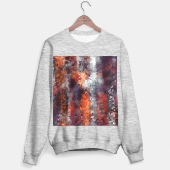 psychedelic geometric polygon shape pattern abstract in orange brown red black Sweater regular Bild der Miniatur