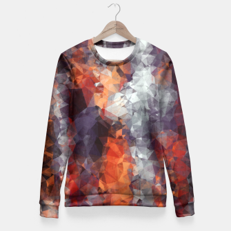psychedelic geometric polygon shape pattern abstract in orange brown red black Fitted Waist Sweater Bild der Miniatur