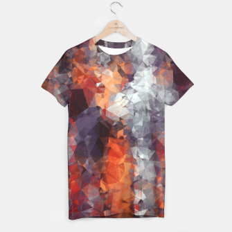 psychedelic geometric polygon shape pattern abstract in orange brown red black T-shirt Bild der Miniatur