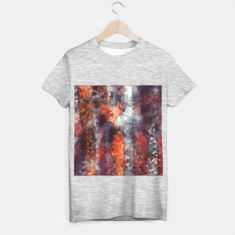 psychedelic geometric polygon shape pattern abstract in orange brown red black T-shirt regular Bild der Miniatur