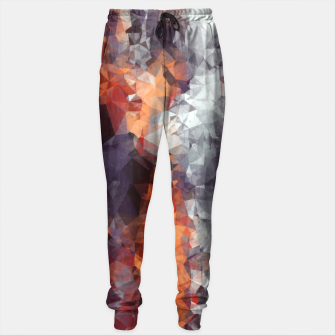 psychedelic geometric polygon shape pattern abstract in orange brown red black Sweatpants Bild der Miniatur
