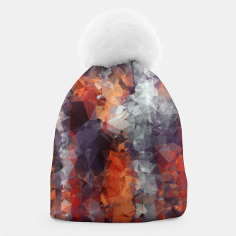 psychedelic geometric polygon shape pattern abstract in orange brown red black Beanie Bild der Miniatur