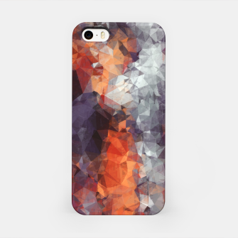 psychedelic geometric polygon shape pattern abstract in orange brown red black iPhone Case Bild der Miniatur
