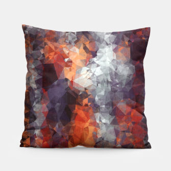 psychedelic geometric polygon shape pattern abstract in orange brown red black Pillow Bild der Miniatur