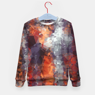 psychedelic geometric polygon shape pattern abstract in orange brown red black Kid's Sweater Bild der Miniatur