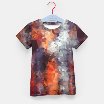psychedelic geometric polygon shape pattern abstract in orange brown red black Kid's T-shirt Bild der Miniatur