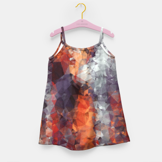 psychedelic geometric polygon shape pattern abstract in orange brown red black Girl's Dress Bild der Miniatur