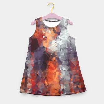 psychedelic geometric polygon shape pattern abstract in orange brown red black Girl's Summer Dress Bild der Miniatur