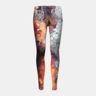 psychedelic geometric polygon shape pattern abstract in orange brown red black Girl's Leggings Bild der Miniatur
