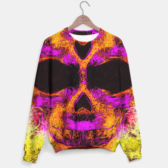 Thumbnail image of psychedelic angry skull portrait in pink orange yellow Sweater, Live Heroes