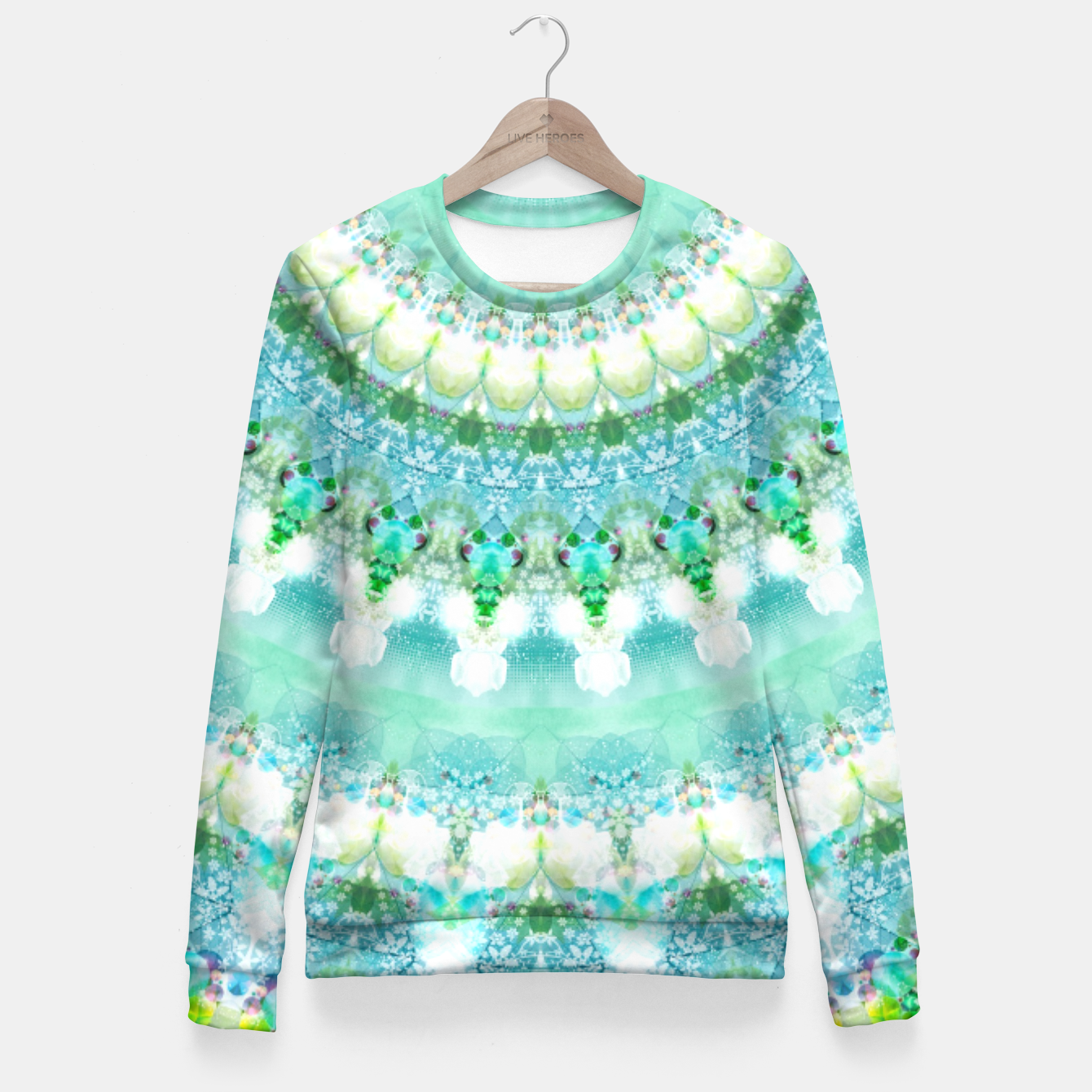 Image of Sea Green Mandala Fitted Waist Sweater - Live Heroes