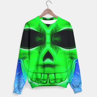 Thumbnail image of green skull with blue background Sweater, Live Heroes