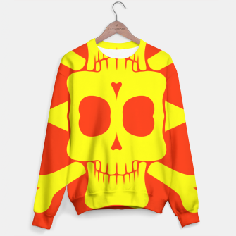 Thumbnail image of yellow square skull and bones with red background Sweater, Live Heroes