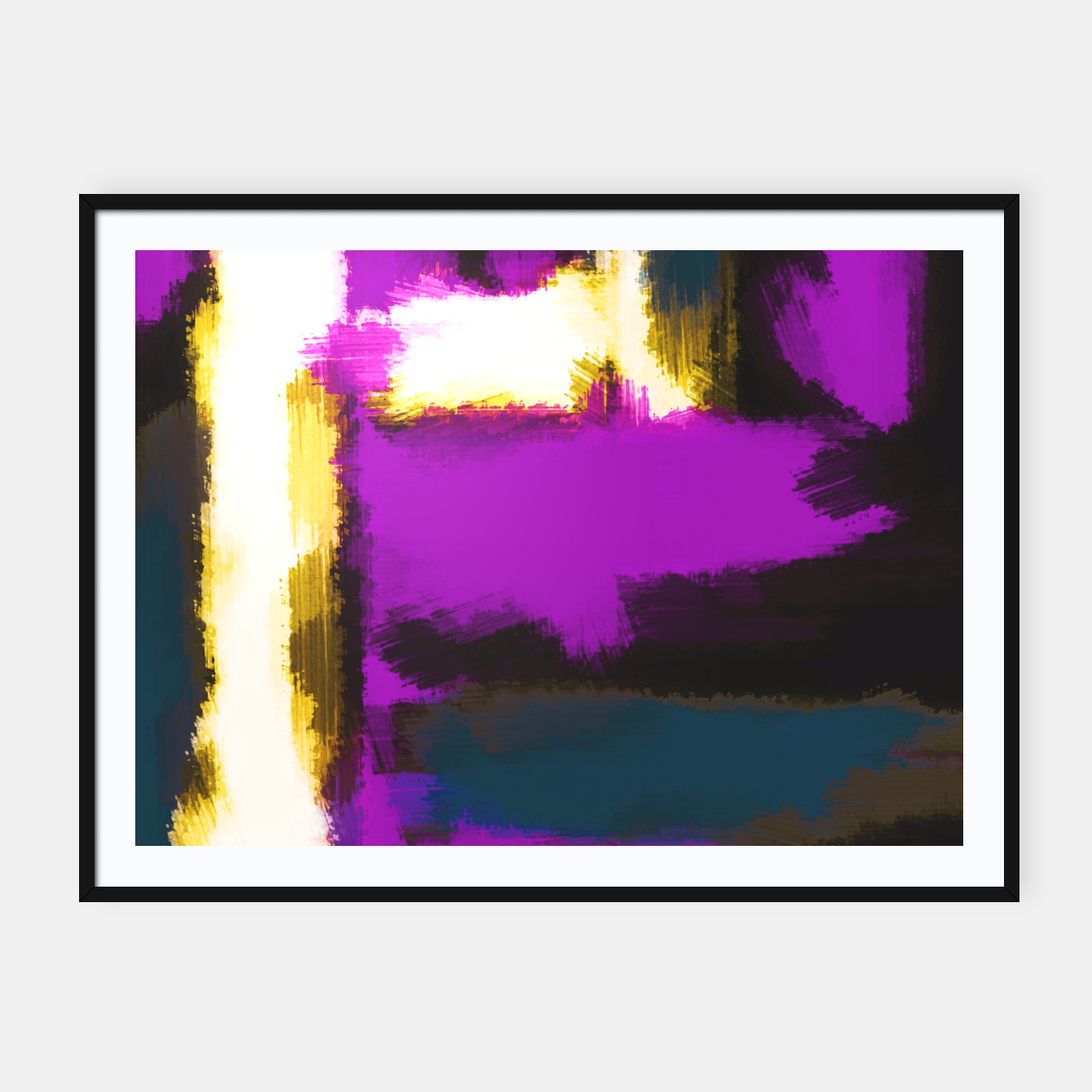 purple blue white and black abstract painting Framed poster