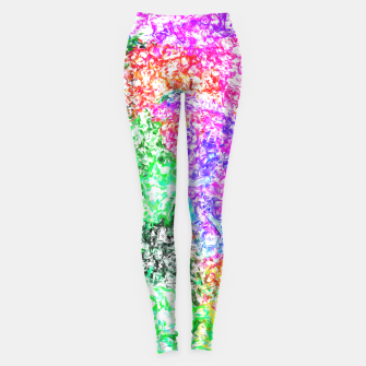 Thumbnail image of psychedelic splash painting abstract in pink purple green blue orange and yellow Leggings, Live Heroes