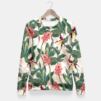 Thumbnail image of Tropical Leaf Pattern Fitted Waist Sweater, Live Heroes