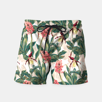Thumbnail image of Tropical Leaf Pattern Swim Shorts, Live Heroes