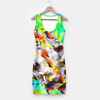 Thumbnail image of psychedelic camouflage splash painting abstract in blue green orange pink brown Simple Dress, Live Heroes