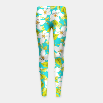 Thumbnail image of White Floral Girl's Leggings, Live Heroes