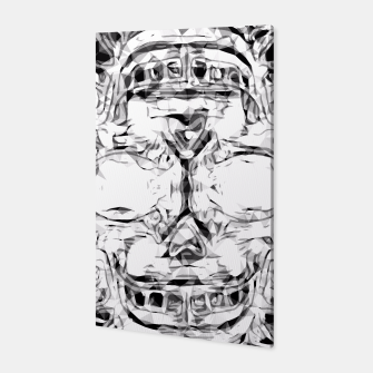 Thumbnail image of psychedelic skull art geometric triangle abstract pattern in black and white Canvas, Live Heroes