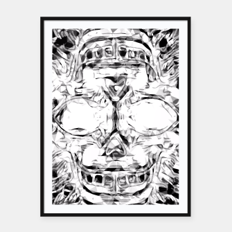 Imagen en miniatura de psychedelic skull art geometric triangle abstract pattern in black and white Framed poster, Live Heroes