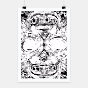 Imagen en miniatura de psychedelic skull art geometric triangle abstract pattern in black and white Poster, Live Heroes