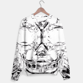 Thumbnail image of psychedelic skull art geometric triangle abstract pattern in black and white Sweater, Live Heroes