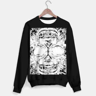Imagen en miniatura de psychedelic skull art geometric triangle abstract pattern in black and white Sweater regular, Live Heroes