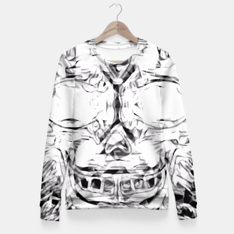 Imagen en miniatura de psychedelic skull art geometric triangle abstract pattern in black and white Fitted Waist Sweater, Live Heroes