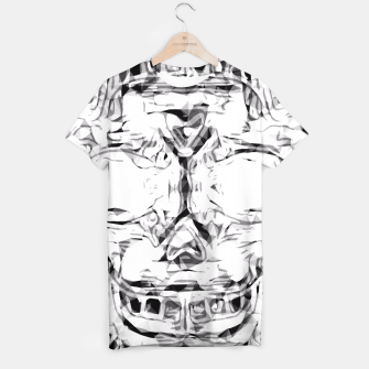 Miniatur psychedelic skull art geometric triangle abstract pattern in black and white T-shirt, Live Heroes