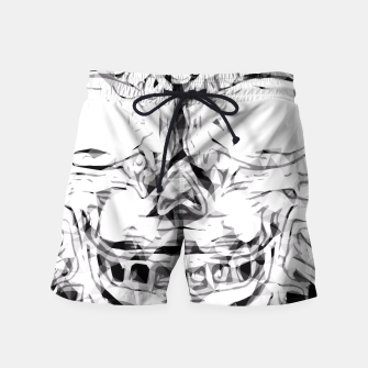 Imagen en miniatura de psychedelic skull art geometric triangle abstract pattern in black and white Swim Shorts, Live Heroes