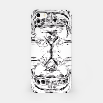 Imagen en miniatura de psychedelic skull art geometric triangle abstract pattern in black and white iPhone Case, Live Heroes