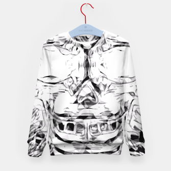 Imagen en miniatura de psychedelic skull art geometric triangle abstract pattern in black and white Kid's Sweater, Live Heroes