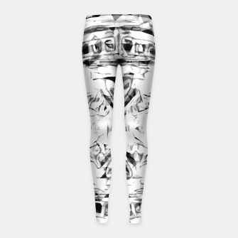 Imagen en miniatura de psychedelic skull art geometric triangle abstract pattern in black and white Girl's Leggings, Live Heroes