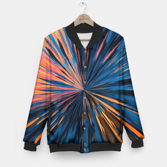 Thumbnail image of psychedelic splash painting abstract pattern in orange brown pink blue Baseball Jacket, Live Heroes