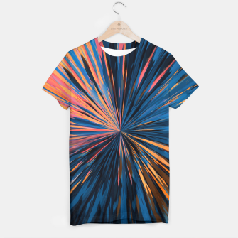 Miniatur psychedelic splash painting abstract pattern in orange brown pink blue T-shirt, Live Heroes