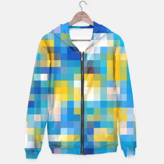 Thumbnail image of pixel geometric square pattern abstract in blue and yellow Hoodie, Live Heroes