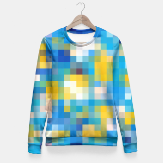 Imagen en miniatura de pixel geometric square pattern abstract in blue and yellow Fitted Waist Sweater, Live Heroes