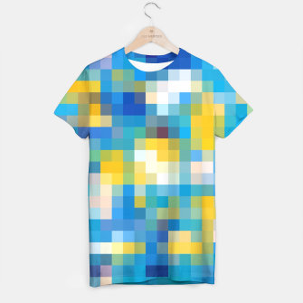 Miniatur pixel geometric square pattern abstract in blue and yellow T-shirt, Live Heroes