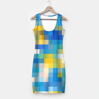 Imagen en miniatura de pixel geometric square pattern abstract in blue and yellow Simple Dress, Live Heroes