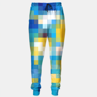 Thumbnail image of pixel geometric square pattern abstract in blue and yellow Sweatpants, Live Heroes
