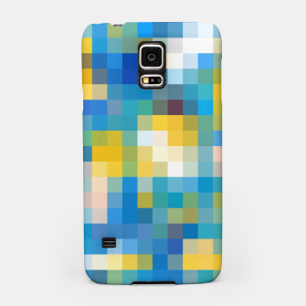 Imagen en miniatura de pixel geometric square pattern abstract in blue and yellow Samsung Case, Live Heroes